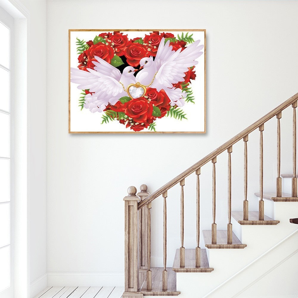 White Pigeons Heart Shaped Roses - 5d Diamond Painting Kit