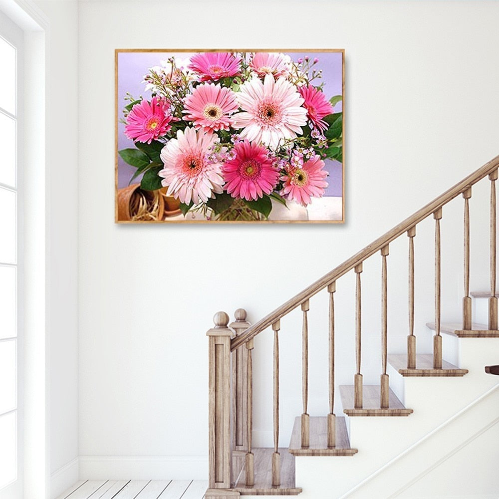 Pink White And Purple Flowers - 5d Diamond Painting Kit