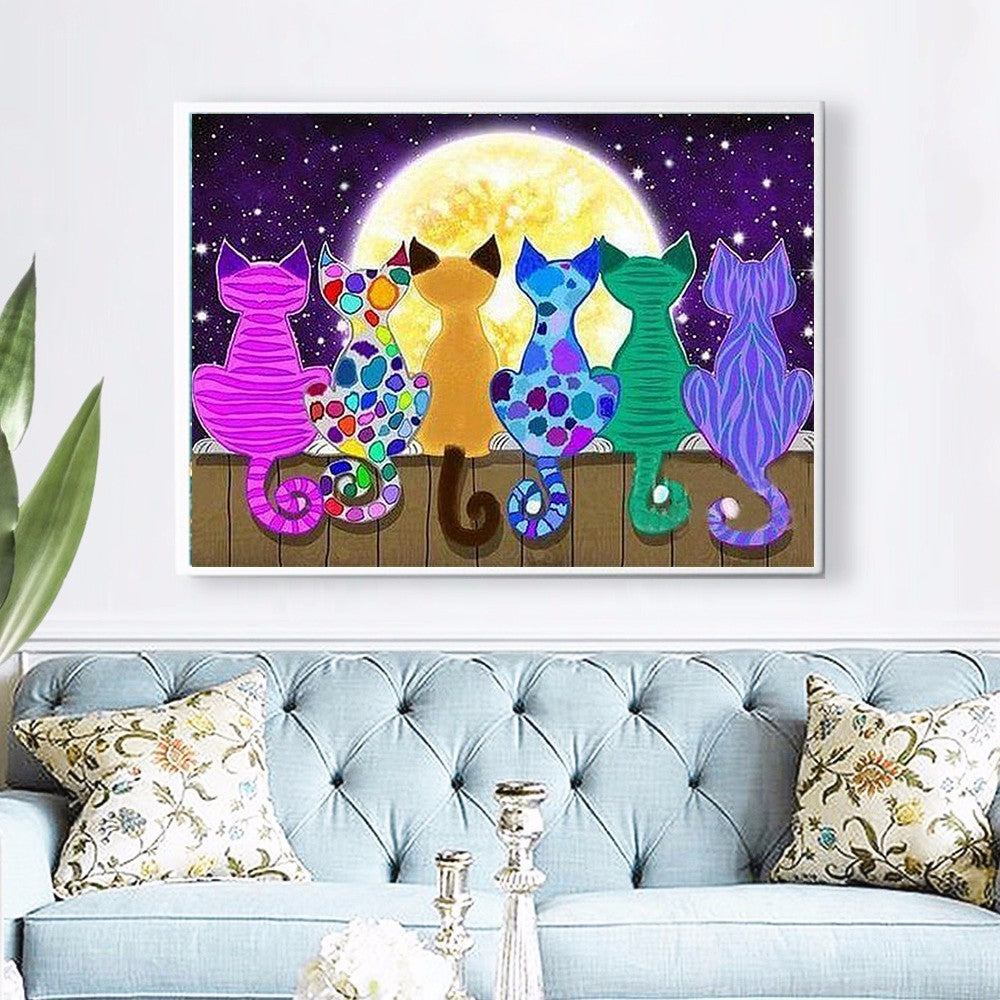 Cats Watching Moon - 5d Diamond Painting Kit