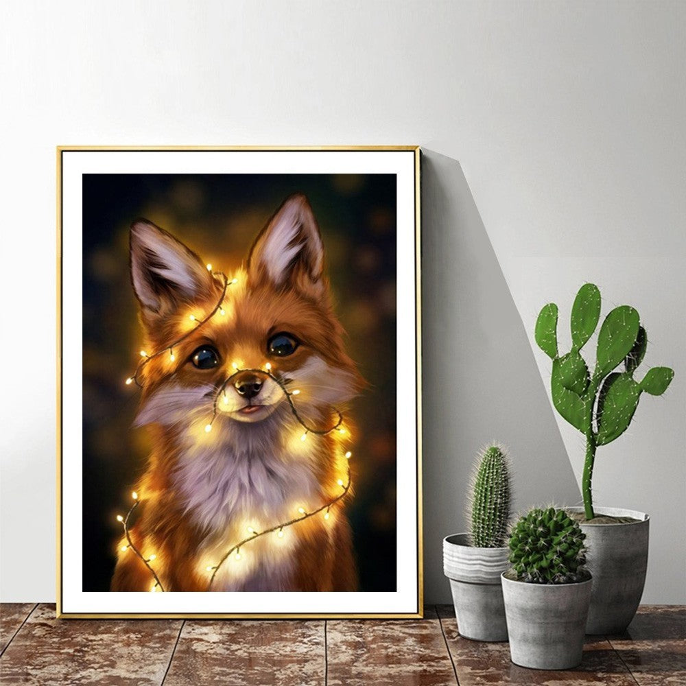 Fox And Christmas Lights - 5d Diamond Painting Kit