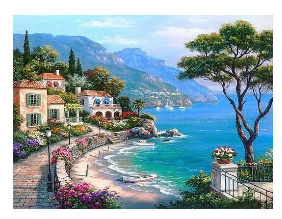 Mediterranean Sea Landscape - Paint by Numbers Kits