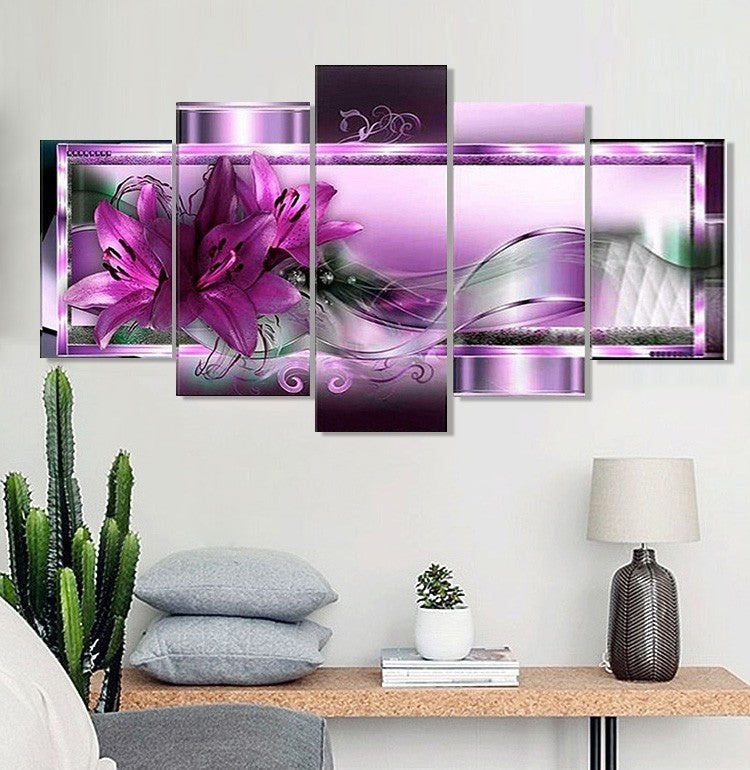 Multi Image Purple Animated Flower - 5d Diamond Painting Kit