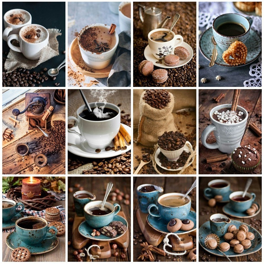 Coffee And Tableware Collage Set - 5d Diamond Painting Kit