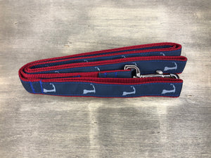 Cape Cod Classics Leash grey cape cod on navy ribbon on maroon nylon