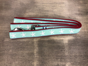 Starfish Leash white starfish on teal ribbon on maroon nylon
