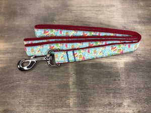 Sail Boat Leash pastel sailboats on maroon nylon