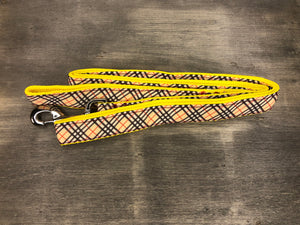 Plaid Leash tan black and red plaid design on tan ribbon on yellow nylon