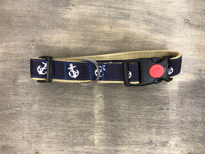 Navy ribbon with white anchor on khaki webbing