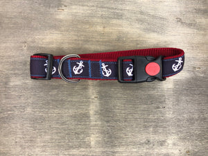Navy ribbon with white anchor on maroon webbing
