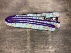 Sail Boat Leash Pastel sailboats on purple nylon
