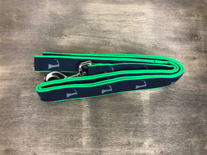 Cape Cod Classics Leash grey cape cod on navy ribbon on green nylon