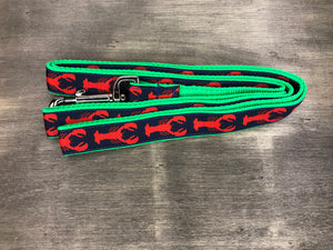 Lobster Leash red lobsters on navy ribbon on green nylon