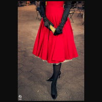 SUZETTE STRAPLESS SWING DRESS IN CHERRY RED PONTE - CUSTOM HANDMADE BY LOVERGIRL COUTURE