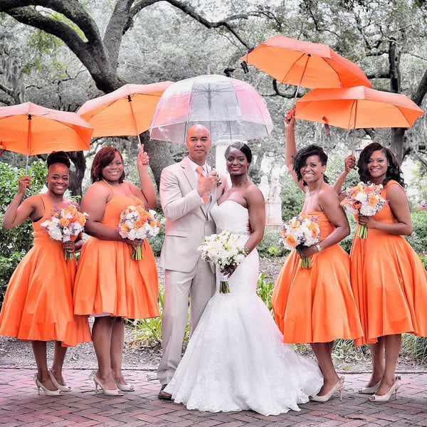 GROUP ORDER! SET OF 5 CHLOE BRIDESMAID DRESSES IN TANGERINE ORANGE PONTE DE ROMA - CUSTOM HANDMADE BY LOVERGIRL COUTURE