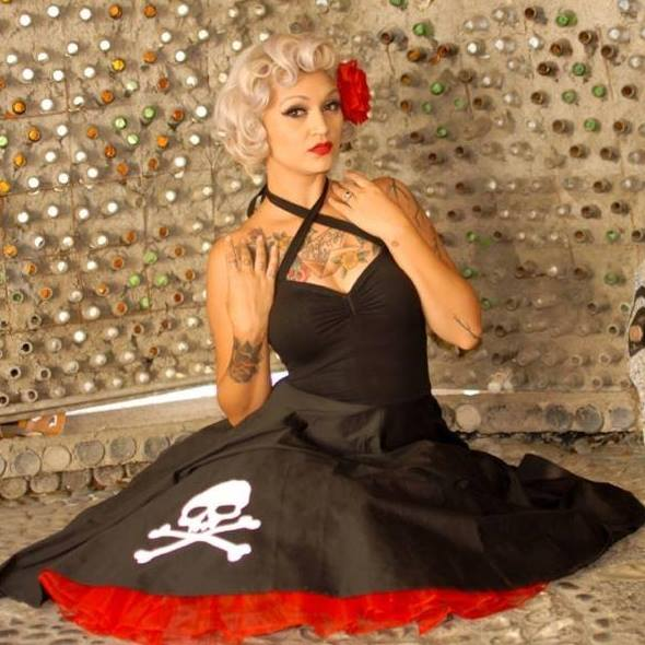 SKULL & CROSSBONES HALTER DRESS IN ONYX PONTE DE ROMA - CUSTOM HANDMADE BY LOVERGIRL COUTURE