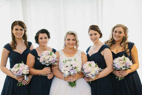 SET OF 4 MARILYN BRIDESMAID DRESSES IN NAVY BLUE COTTON JERSEY