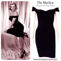 MARILYN 3-in-1 MULTI-WAY WIGGLE DRESS IN RAVEN BLACK COTTON JERSEY - CUSTOM HANDMADE BY LOVERGIRL COUTURE