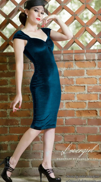 MARILYN MULTI-WAY WIGGLE DRESS IN TEAL BLUE LUXE VELVET