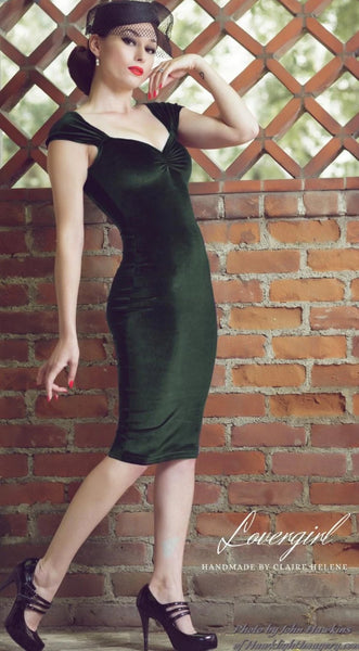 MARILYN MULTI-WAY WIGGLE DRESS IN FOREST GREEN LUXE VELVET