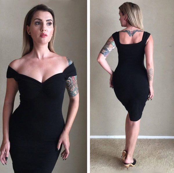 Vintage-Black-Off-the-Shoulder-Pencil-Dress