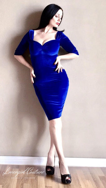 Royal-Blue-Velvet-1950s-Pencil-Dress