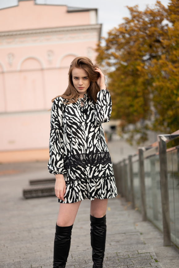 Trivia Zebra Short Dress