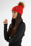 Wool Blend Cable Knit Bobble Hat (Neroli)