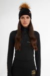 Wool Blend Cable Knit Bobble Hat (Black)
