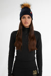 Wool Blend Cable Knit Bobble Hat (Ink Navy)