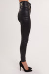 Skinny Leather Look Trousers (Black)