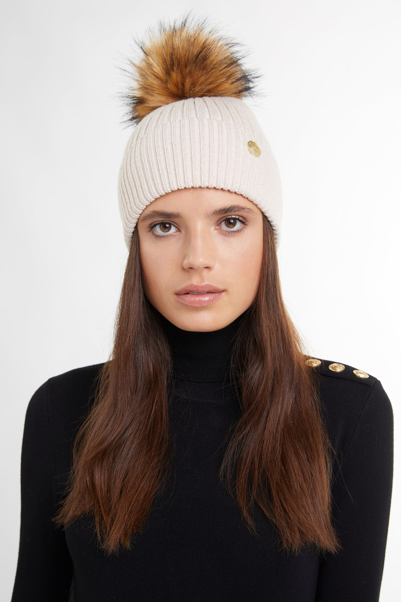 Metallic Bobble Hat (Camel)