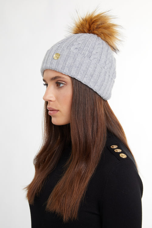 Cashmere Cable Knit Bobble Hat (Grey Marl)