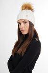 Cashmere Cable Knit Bobble Hat (Winter White)