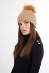 Cashmere Cable Knit Bobble Hat (Camel Marl)