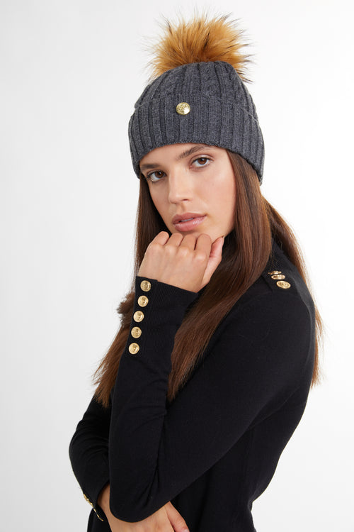 Cashmere Cable Knit Bobble Hat (Charcoal Marl)
