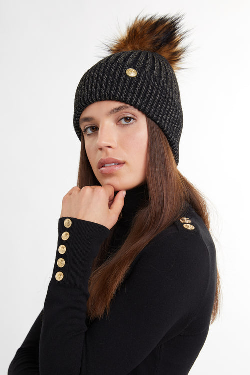 Metallic Bobble Hat (Black)