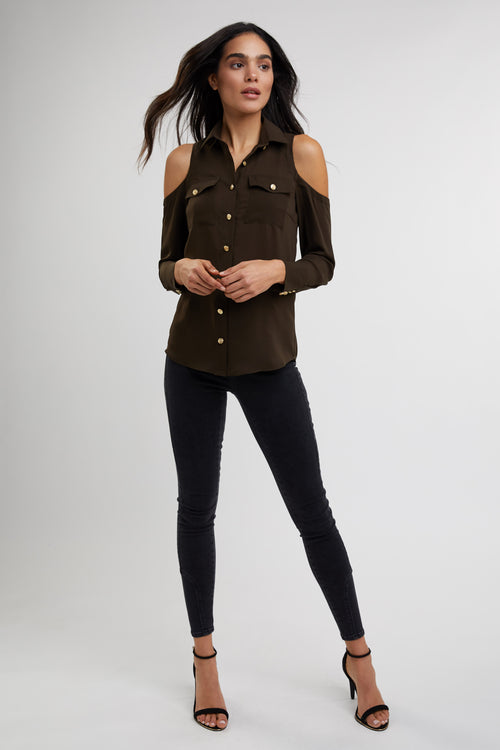 Luxe Cold Shoulder Shirt (Khaki)