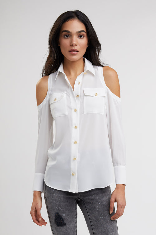 Luxe Cold Shoulder Shirt (White)