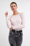 Raglan Ribbed Button Knit (Ice Pink Marl)