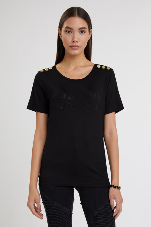 Relax Fit Crystal Crew Neck Tee (Black)