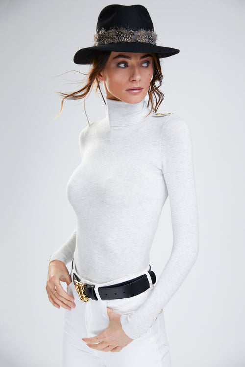 Buttoned Knit Roll Neck (Cream)
