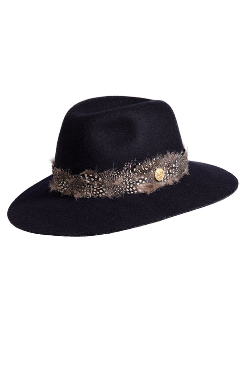 Trilby Hat with Feather Band (Navy)