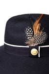 Trilby Hat (Navy/Feather)