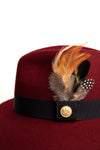 Trilby Hat (Burgundy/Feather)