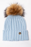 Acrylic Cable Knit Bobble Hat (Baby Blue)