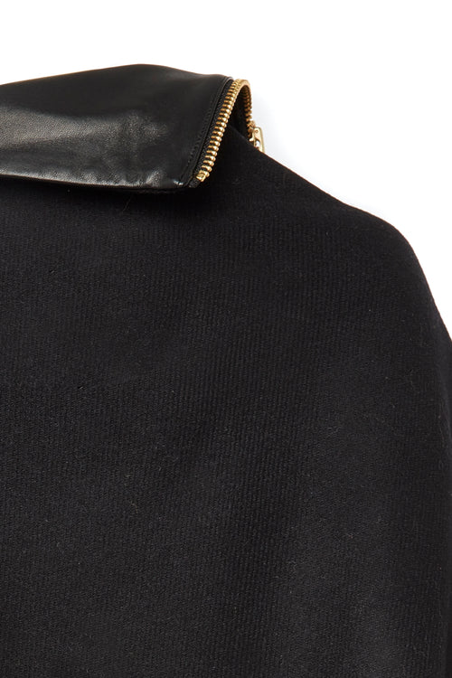 Tweed and Leather Collar Wrap (Black)