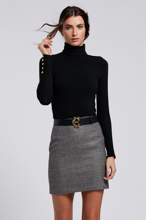 Chelsea Skirt (Black Prince of Wales Check)