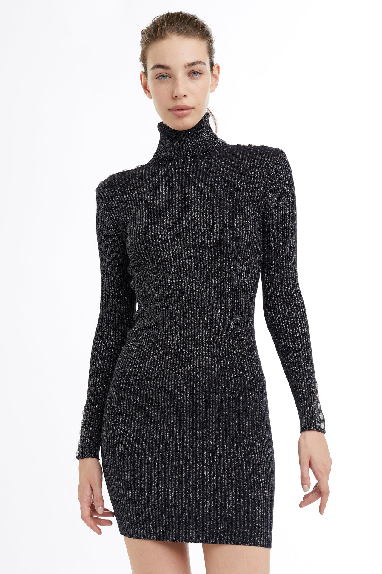 Metallic Roll Neck Jumper Dress (Navy)