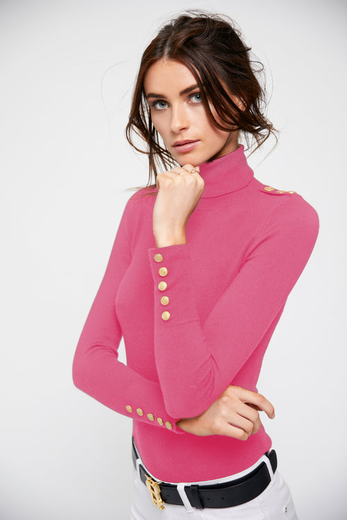 Buttoned Knit Roll Neck (Fuchsia)