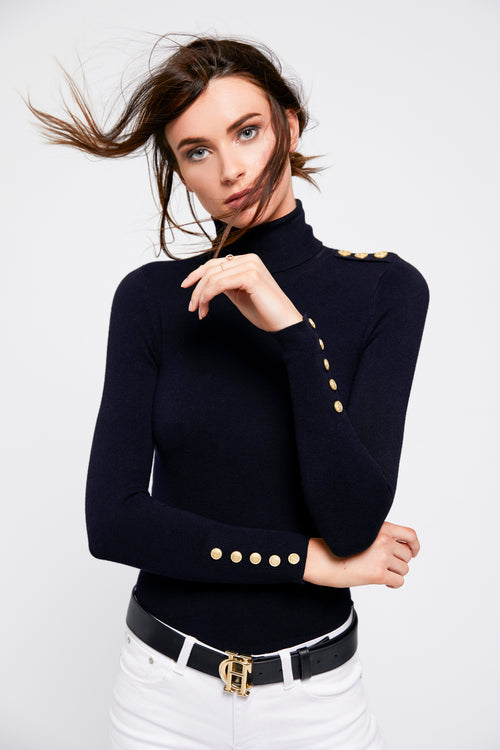 Buttoned Knit Roll Neck (Ink Navy)